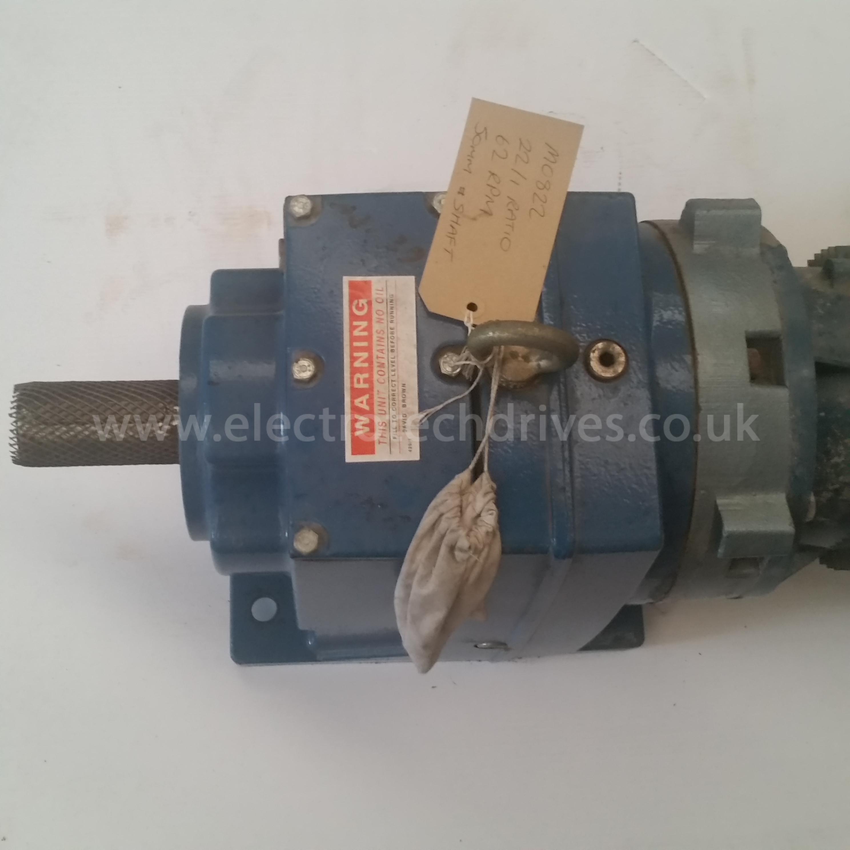 David Brown Radicon Gearbox M0822 22  1 Bgc 63rpm 50mm Shaft With 4kw 415v Motor