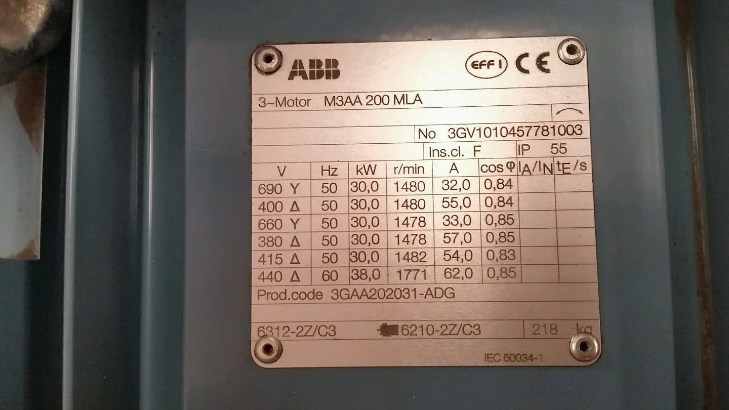 Abb 30kw 1500rpm 3 Phase Foot Mount Electric Motor