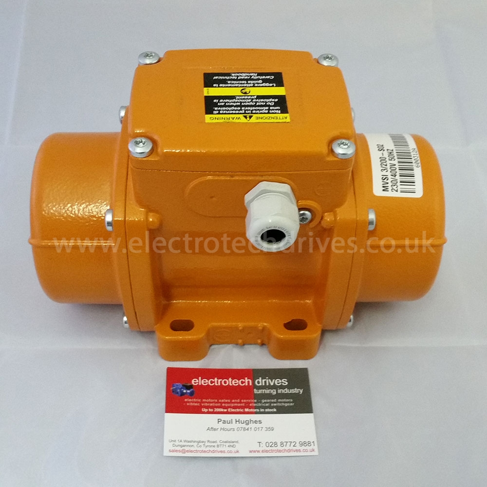 Vibtec vibrator motor mvsi3 200 s02 3 phase 3000rpm for Used electric motor shop equipment for sale