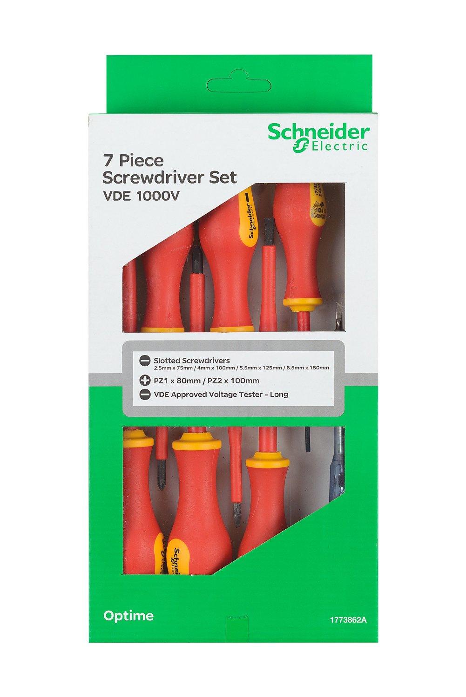 Schneider Electricians Vde Screwdriver Set 7 Piece With Electrical Tester 2299