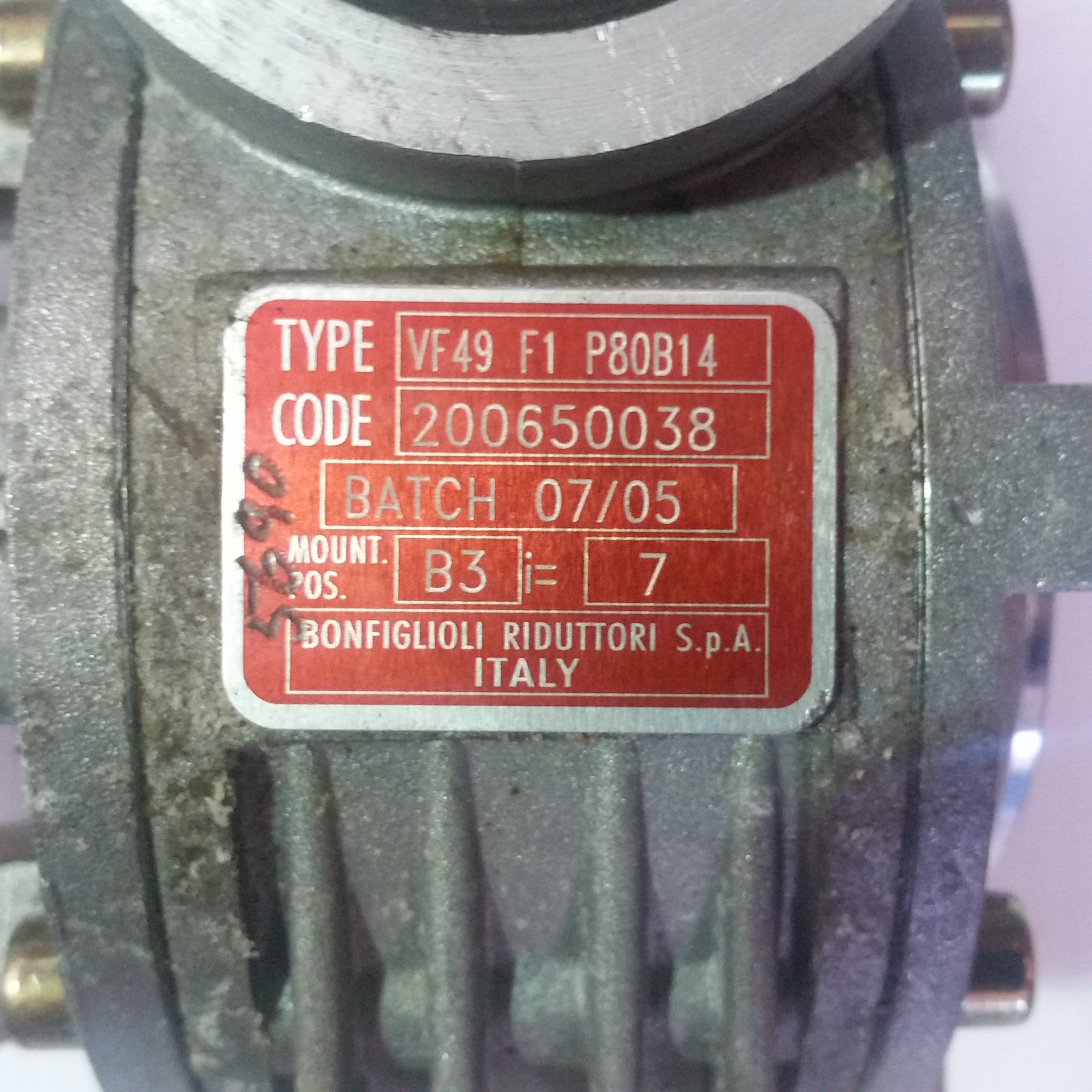 Bonfiglioli Gearbox Vf49 F1 P80b14 With Side Mount Flange