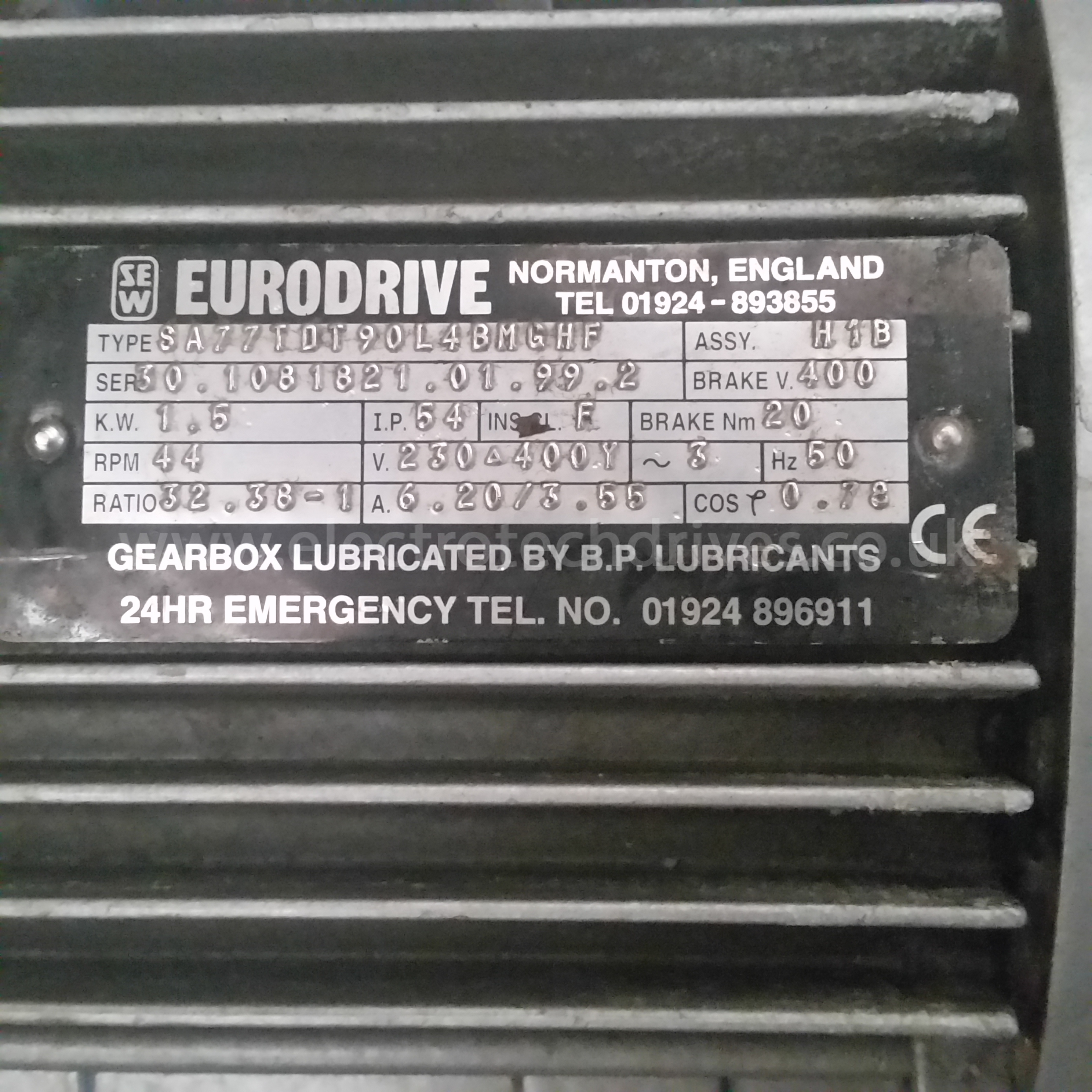 Sew Eurodrive Geared Motor Sa77dt90l4 Bmfhf 50mm Bore With